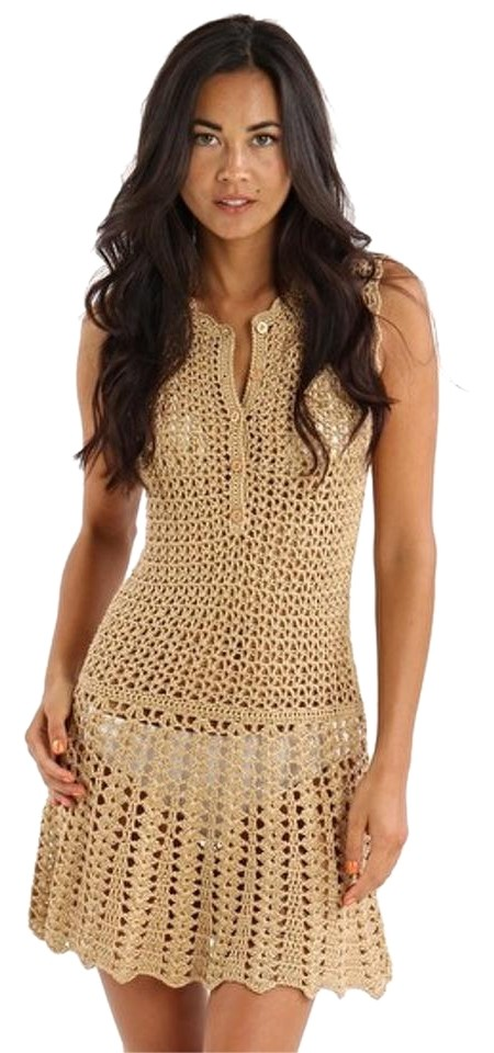 ce7ef2a5f7 Melissa Odabash Gold Rosie Crochet Dress Cover-up/Sarong Size 6 (S ...