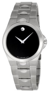 Movado Black Dial Sport Casual Silver tone Stainless Steel Designer MENS watch