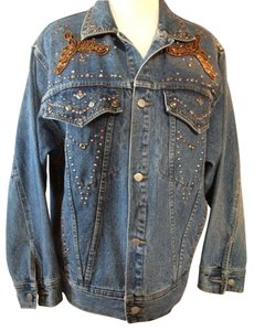 Free go Bezel Set Turquoise Stones Denim Womens Jean Jacket