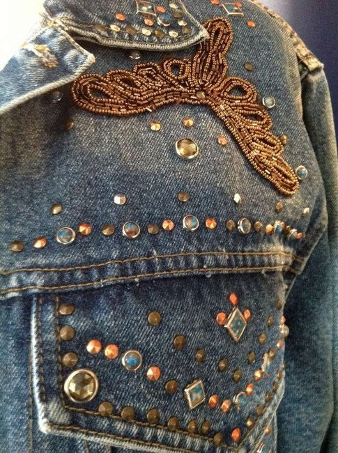 Free go Bezel Set Turquoise Stones Not Sure If Real But Beading I Feel Would Be Fine 10-16 Denim Womens Jean Jacket