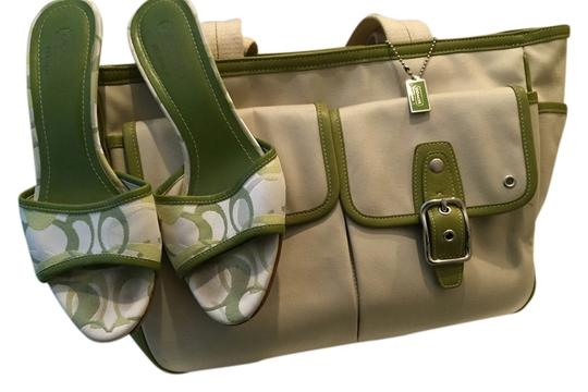 Preload https://item3.tradesy.com/images/coach-no-bo4q-6734-tan-and-green-canvas-with-leather-tote-1745332-0-0.jpg?width=440&height=440