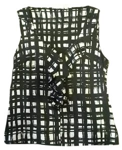 Halogen Tank Check Checkered Abstract Plaid Top Black & White