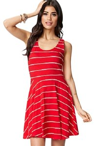 Forever 21 short dress red and white striped on Tradesy