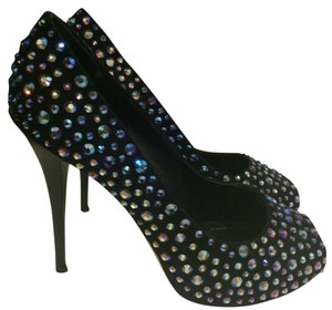 Giuseppe Zanotti Black with bluish purple gem design Platforms