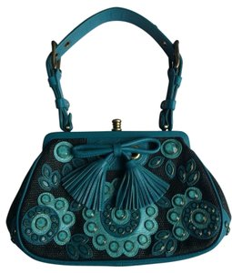 Isabella Fiore Leather Fun Quirky Satchel in Blue / Black