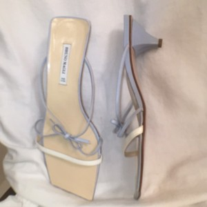 Bruno Magli Leather New Blue White Sandals