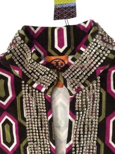 Tory Burch Art Deco Velvet Cotton Crystal Rhinestones Tunic