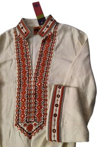 Tory Burch Linen Kimono Sleeves Embroidered Bohemian Argyle Tunic