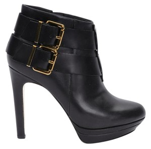 Diesel Leather Buckle Bootie Black Platforms