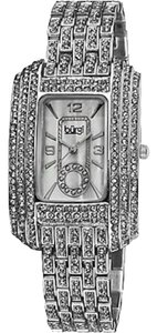 Burgi Burgi Womens Rectangular Crystal Quartz Bracelet Watch
