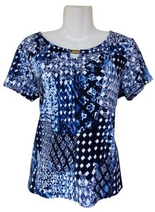 Rafaella Cotton Keyhole Short Sleeve Top blue