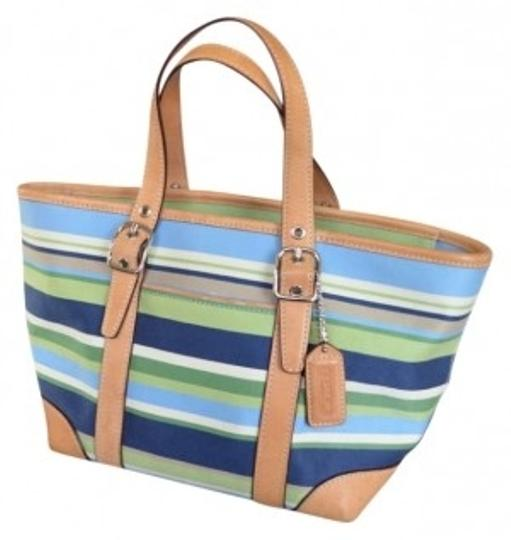 Coach Stripes Summer Tote in Blue, Lime, Green, Tan, and White