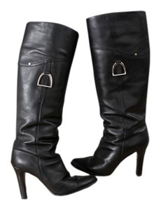 Ralph Lauren Leather Winter Fall Black Boots
