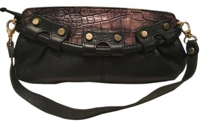 Pietro Alessandro Leather Black Studded, Brown Croco Trim Clutch