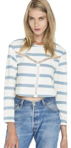 d.RA Crop Long Sleeve Cut-out Summer Ladder Lace Top Blue & White Striped