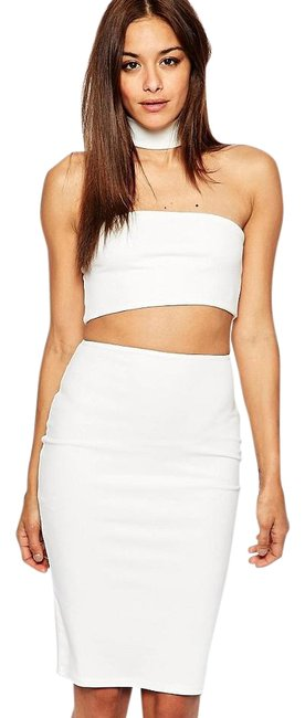 Item - White Missguided Cut Choker Bandeau Tube Top Bodycon Mid-length Night Out Dress Size 2 (XS)