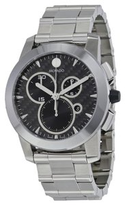 Movado Black Dial Silver tone Stainless Steel Casual Sport Designer MENS Watch