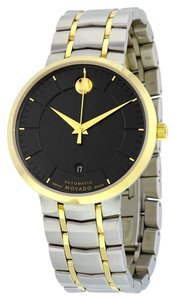 Movado Two Tone Gold and Silver Black Dial Stainless Steel Designer MENS Dress Casual Watch