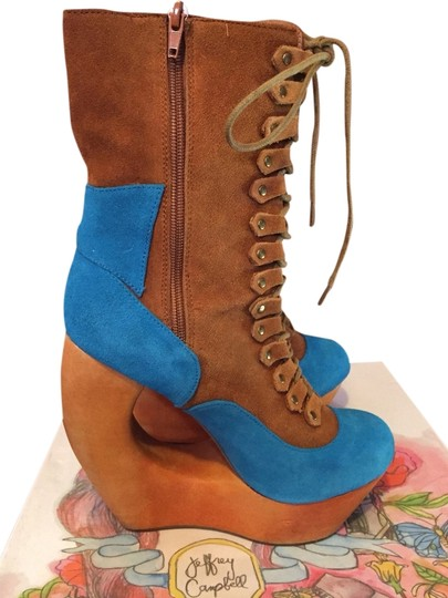 Jeffrey Campbell Rock Rose Wedge Funky Stylish Laceup Print Suede Wooden Wooden Heel Vintage Tan And Blue Platforms