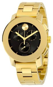 Movado Black Dial Gold tone Stainless Steel Designer UNISEX Casual Dress Watch
