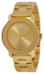 Movado Gold Ion Plated Stainless Steel Swarovski Crsytal Set Designer MENS Casual Dress Watch
