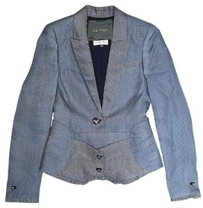 Zac Posen Fitted Houndstooth Couture Gray Blazer