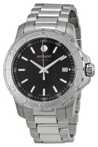 Movado Black Dial Silver tone Stainless Steel Designer Sport MENS Watch