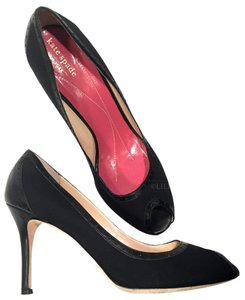 Kate Spade Peep Toe Leather Suede Business New York Made In Italy Black Pumps