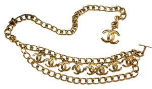 Chanel Vintage Gold Plated Multi CC Dangle Chunky Chain Belt / Necklace