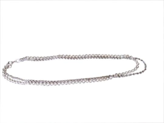 White House   Black Market Silver chain link double necklace