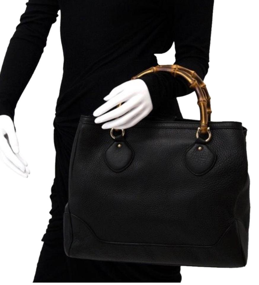 Gucci Bamboo Handle Leather Tote In Black