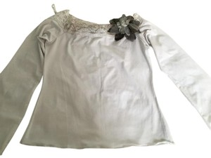 Shirt Laces Flower Pin Top White