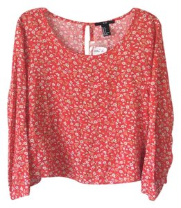 Other Top Reddish orange with floral pattern