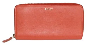 Bally Textured Calf Leather Coral Zip Around Wallet