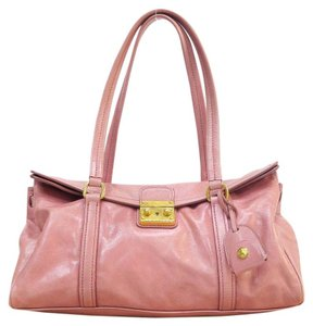 Miu Miu Distressed Leather Tote in PINK