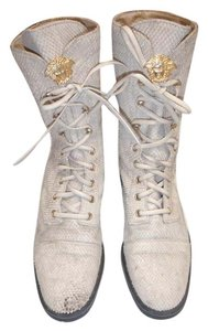 Versace Gianni Combat Lace Flat Cream/beige Boots