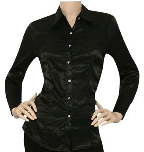 New York & Company Button Down Satin Shiny Button Top BLACK
