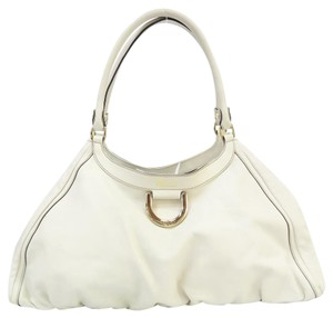Gucci Leather D-ring Hobo Tote in Ivory