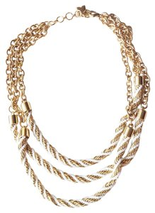 BCBGMAXAZRIA Gold white colored chain collar necklace