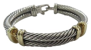David Yurman David Yurman Sterling Silver and 14k Yellow Gold Double Cable Bracelet