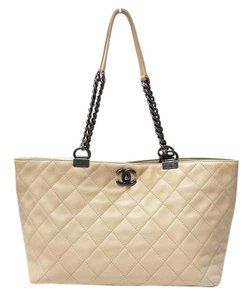 Chanel Cc Logo Quilted Leather Tote in Beige