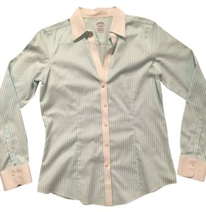 Brooks Brothers Non-iron Button Down Shirt Teal Pinstripe