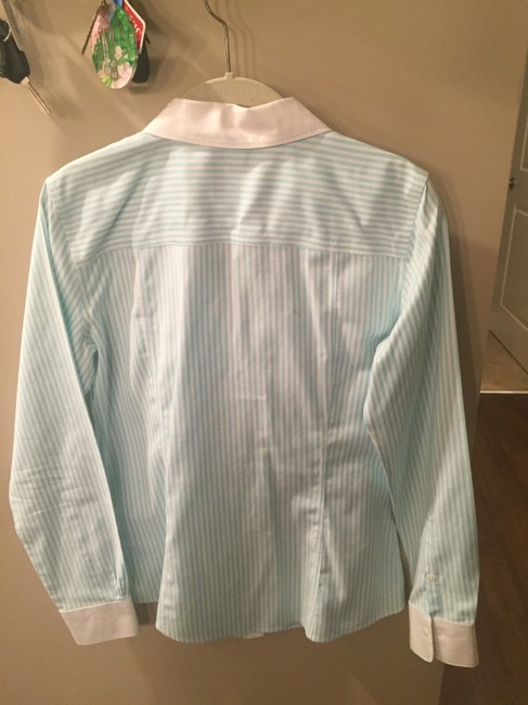Brooks Brothers Non-iron Teal Preppy Classic Button Down Shirt Teal Pinstripe