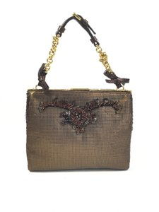 Prada Handful Of Glamour Sequin Brown Gold Bronze Clutch