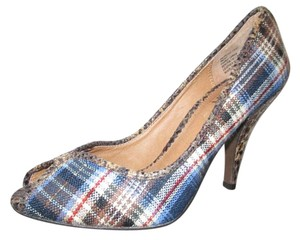 Tribeca by Kenneth Cole Open Toe Peep Toe brown, black & blue plaid Pumps