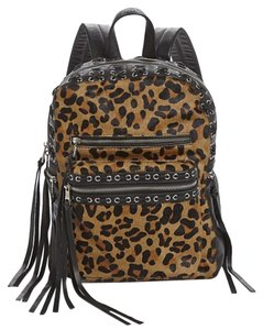 Ash Leather Leopard Calf Hair Black Silver New With Tags Backpack