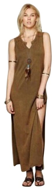 Item - Brown Open Back Distressed Straight Column Long Casual Maxi Dress Size 6 (S)