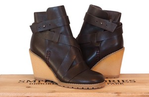 See by Chlo Leather Wedge Dark Brown and Tan Boots