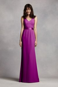 Vera Wang Bridal Casis Long V Neck Crepe Gown With Open Back Dress
