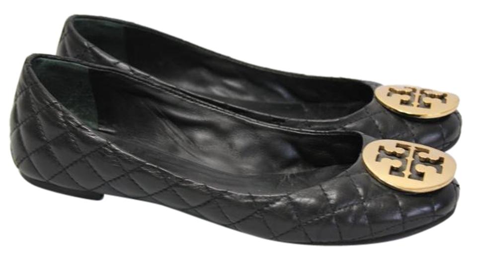 6f33b6e5c2ca Tory Burch Black Quilted Quinn Gold Logo Leather Reva Ballet Flats ...